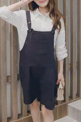 Sweet Style Solid Color Loose-Fitting Women's Overalls - DEEP GRAY XL