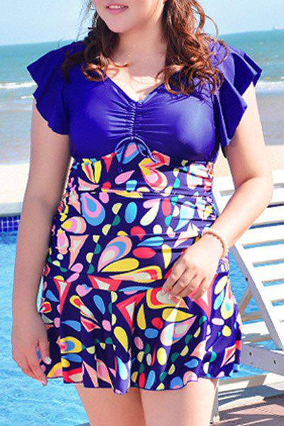 Sweet Women's V-Neck Geometrical Print Swimsuit - SAPPHIRE BLUE 3XL