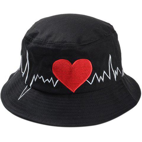 Chic Electrocardiogram and Red Heart Embroidery Women's Bucket Hat - BLACK