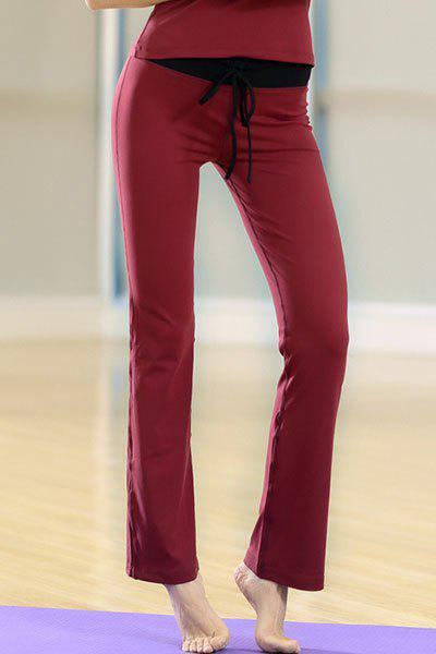 Casual High Waisted Lace-Up Slimming Women's Yoga Pants - WINE RED L