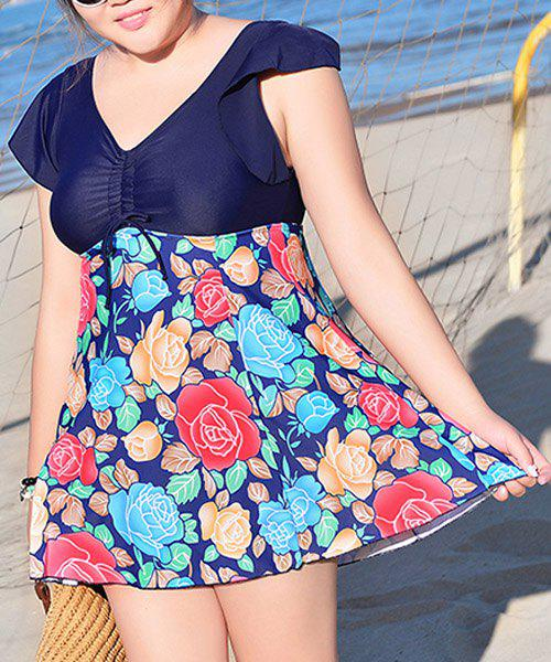 Cute Women's V-Neck Flower Print Short Sleeve Swimsuit - PURPLISH BLUE 5XL