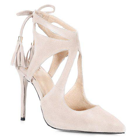 Pretty Hollow Out and Lace-Up Design Pumps For Women - APRICOT 37
