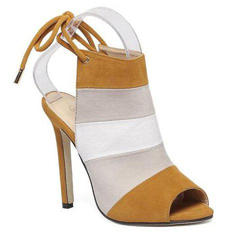 Stylish Color Block and Peep Toe Design Women's Sandals - BROWN 37