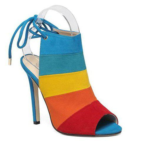 Stylish Color Block and Peep Toe Design Women's Sandals - COLORMIX 35