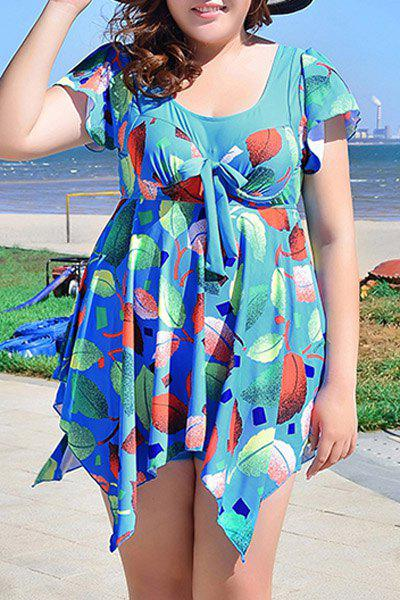 Chic Women's Scoop Neck Leaves Print Short Sleeve Swimsuit - BLUE 6XL