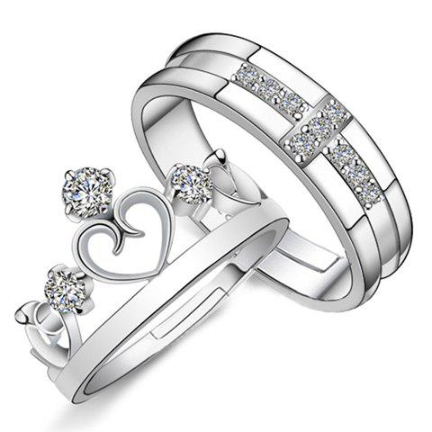 Pair of Crown Heart Rhinestoned Rings For Lovers - SILVER ONE-SIZE
