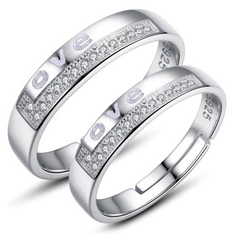Pair of Chic Rhinestoned Engraved Letters Ring For Lovers - SILVER ONE-SIZE
