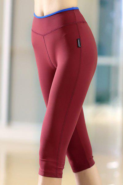 Stylish High Stretchy Elastic Waist Bodycon Womens Yoga PantsWomen<br><br><br>Size: M<br>Color: WINE RED