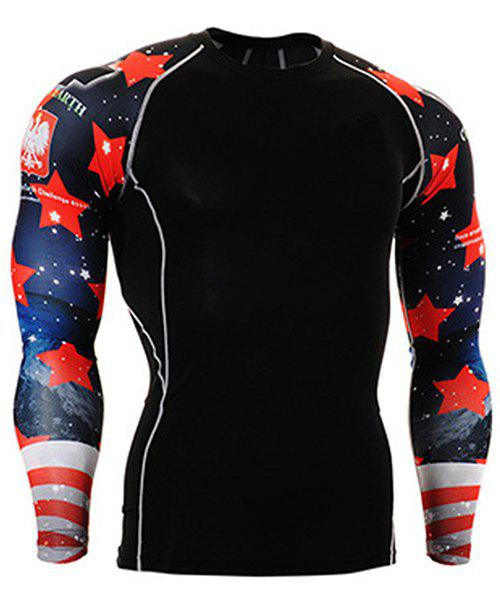 Color Block 3D Starry Sky Print Round Neck Long Sleeves Men's Sweat Dry Tight T-Shirt - BLACK M