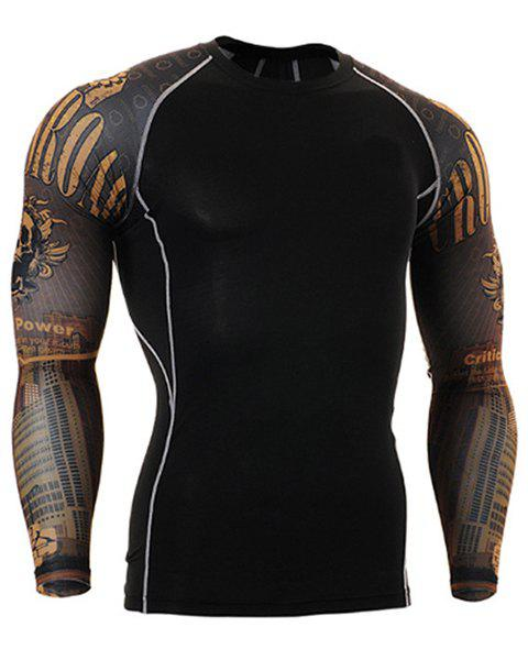 Letters Skulls Pattern Round Neck Long Sleeves Men's 3D Printed Sweat Dry Tight T-Shirt - BLACK S