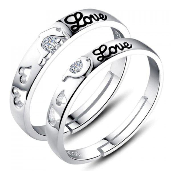 Pair of Graceful Rhinestone Dolphin Heart Ring For Lovers