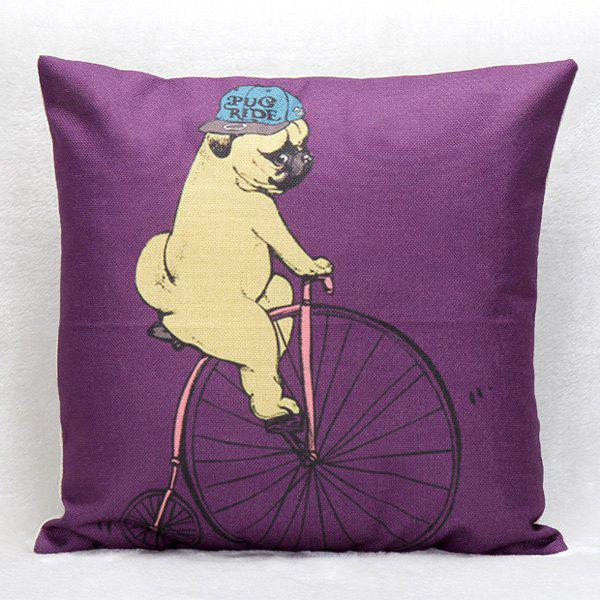 High Quality Puppy Riding Bicycle Pattern Square Shape Pillow Case(Without Pillow Inner)