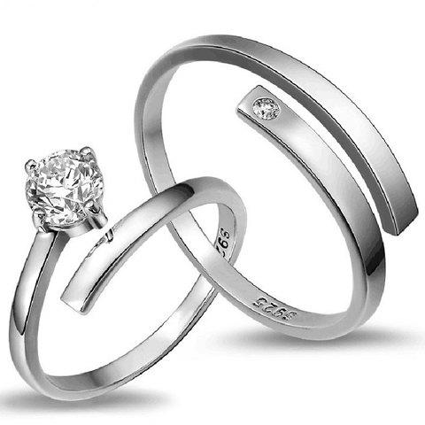 Pair of Chic Rhinestone Cuff Ring For Lovers - SILVER ONE-SIZE