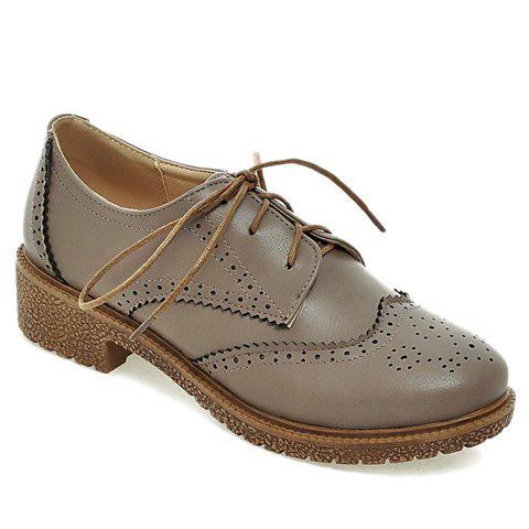 Vintage Engraving and Lace-Up Design Women's Flat Shoes - GRAY 38