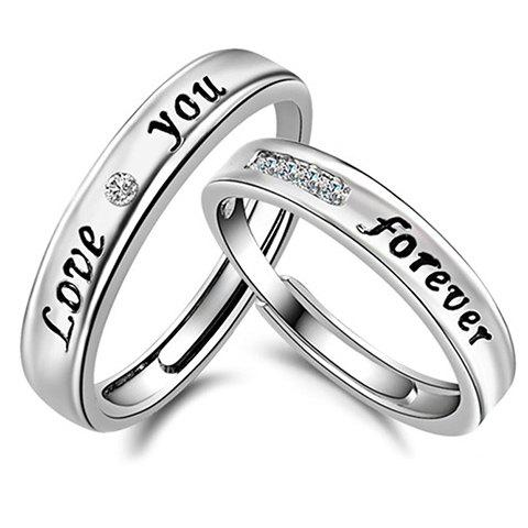 Pair of Stunning Rhinestone Forever Love Cuff Ring For Lovers - SILVER ONE-SIZE