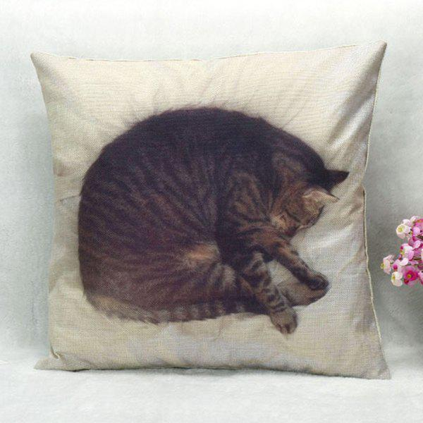 quality sleeping cat pattern square shape pillow case without pillow