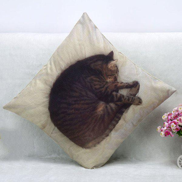 High Quality Sleeping Cat Pattern Square Shape Pillow Case(Without Pillow Inner) - COLORMIX