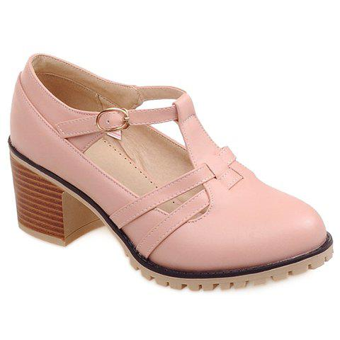 Casual Hollow Out and Chunky Heel Design Women's Pumps - 38 PINK