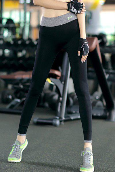 Chic Color Block High-Waisted Slimming Women's Yoga Leggings - GRAY S