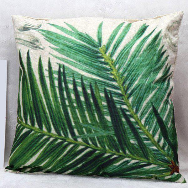 High Quality Leaf Pattern Square Shape Pillow Case(Without Pillow Inner) - GREEN