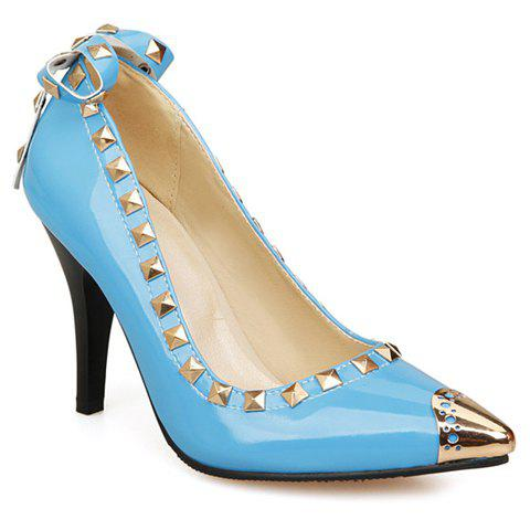 Stylish Rivet and Patent Leather Design Pumps For Women - WATER BLUE 37