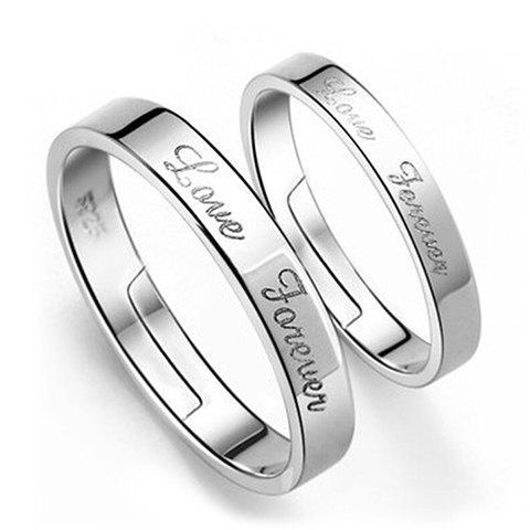 Pair of Chic Engraved Love Forever Letters Ring For Lovers - SILVER ONE-SIZE