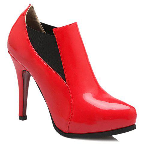 Trendy Patent Leather and Elastic Design Women's Pumps - RED 38