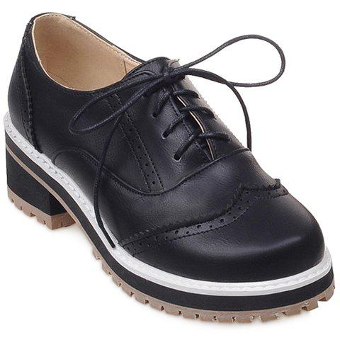 Preppy Lace-Up and Engraving Design Women's Pumps - BLACK 39