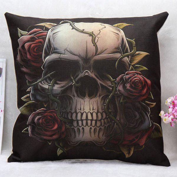 High Quality Rose Decorated Skull Pattern Square Shape Pillow Case(Without Pillow Inner) - COLORMIX