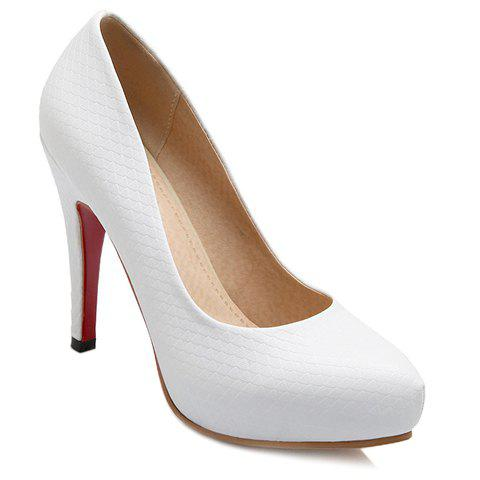 Elegant Embossing and Stiletto Heel Design Women's Pumps - WHITE 35