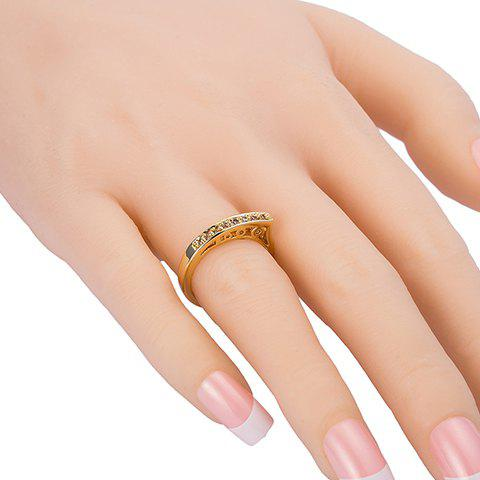 Delicate Rhinestone Hollow Out Ring For Women - GOLDEN ONE-SIZE
