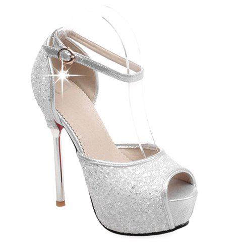 Sexy Sequined Cloth and Peep Toe Design Pumps For Women - SILVER 39