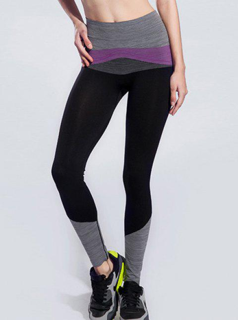 a49a687083 Chic Color Block Spliced High Stretchy Women's Yoga Pants - BLACK/PURPLE S