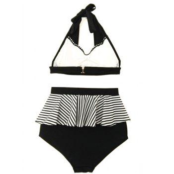 Sexy Halter Striped High Waist Women's Bikini Set - BLACK BLACK