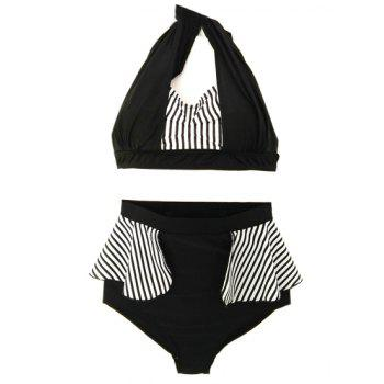 Sexy Halter Striped High Waist Women's Bikini Set