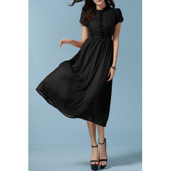 Stylish Women's Stand Collar Short Sleeve Ruffled Midi Dress