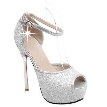 Sexy Sequined Cloth and Peep Toe Design Pumps For Women