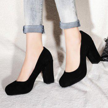 Concise Solid Color and Suede Design Pumps For Women - BLACK 34