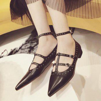 Stylish Solid Colour and Buckles Design Women's Flat Shoes - BLACK BLACK