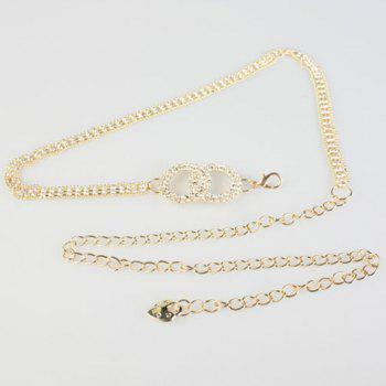 Chic Hollow Out Rhinestone Inlay Alloy Women's Waist Chain