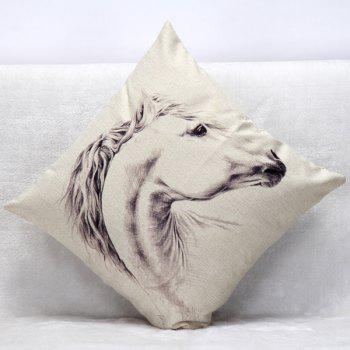 High Quality White Horse Pattern Square Shape Pillow Case(Without Pillow Inner) - WHITE/BLACK