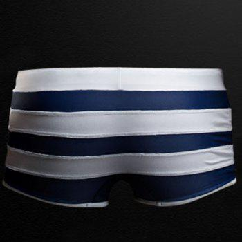 Sexy Color Block Lace-Up Striped Men's Boxer Swimming Trunks - DEEP BLUE L