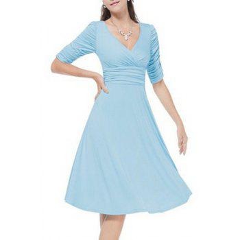 Graceful V Neck Half Sleeve Solid Color Ruched Women's Dress