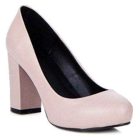 Concise Solid Color and PU Leather Design Pumps For Women