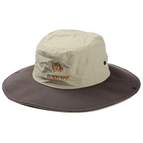 Chic Letter and Cartoon Tiger Head Embroidery Sun Hat For Women - COFFEE