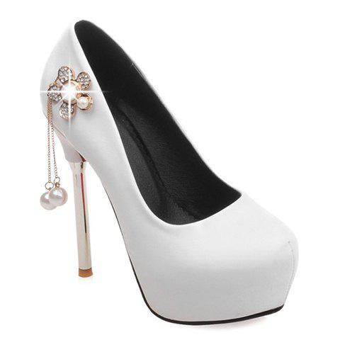 Sexy Faux Pearl and PU Leather Design Pumps For Women - WHITE 38