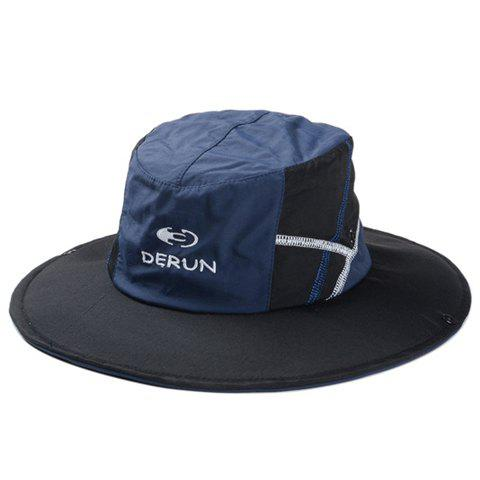 Stylish Embroidery Color Block Men and Women's Sun Hat - BLACK