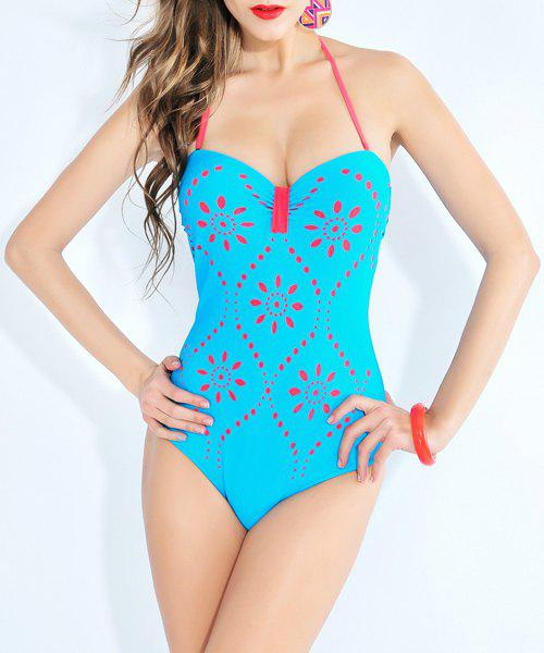 Stylish Women's Halter Lace-Up Hollow Out One Piece Swimsuit - LAKE BLUE 3XL
