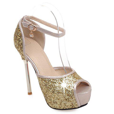 Sexy Sequined Cloth and Peep Toe Design Pumps For Women - GOLDEN 34