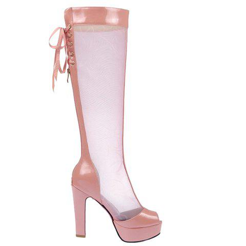 Trendy Splicing and Peep Toe Design Women's Knee-High Boots - PINK 37